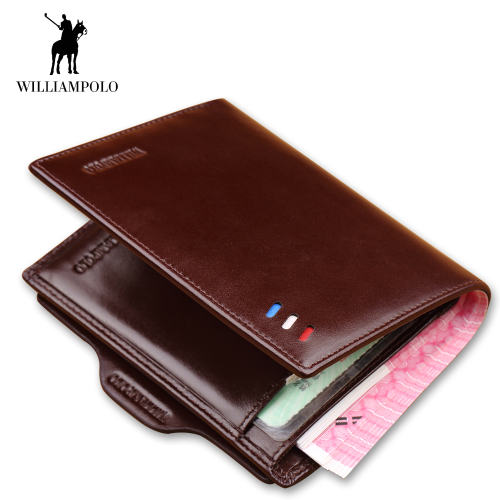 WILLIAMPOLO 2018 New Fashion Luxury Men Wallet Credit Card Holder Genuine Leather Mini Wallets Photo Holder Bifold Vintage Brand