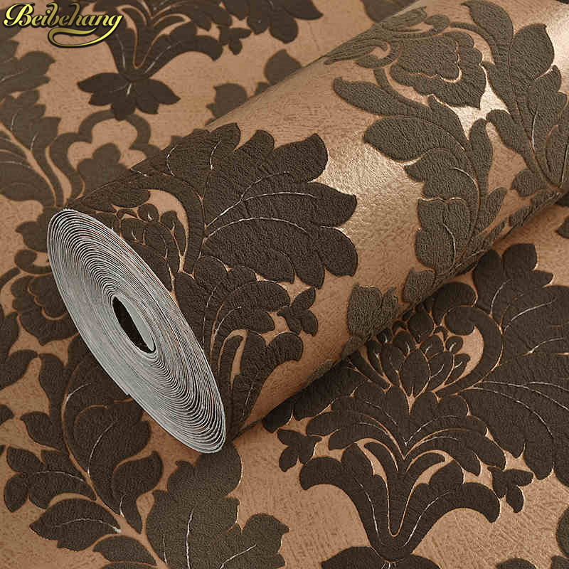 beibehang Damascus suede flocking Wall covering papel de parede 3d WallPaper Roll Living room Bedroom wall papers home decor beibehang papel de parede 3d victorian damask wallpaper roll tv background embossed flowers wall papers home decor living room