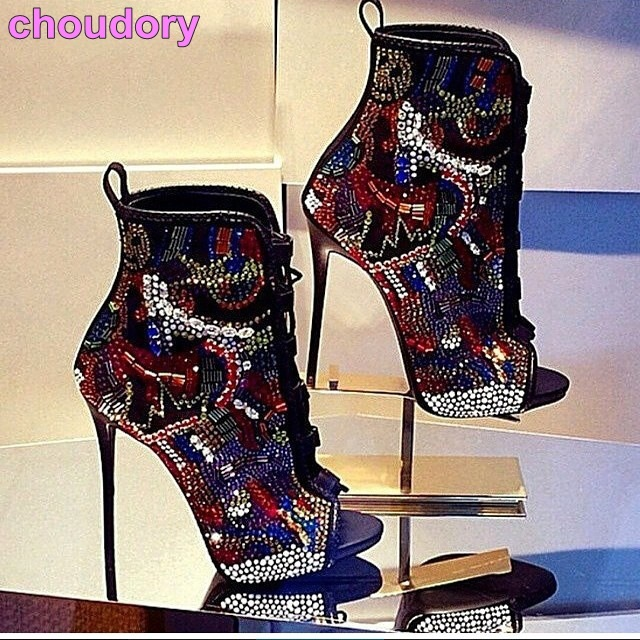 Hot Selling Women Multi-color Crystal Ankle Boots Open Toe Lace-up Exquisite Colorized Rhinestone Booties Extremely High Heels