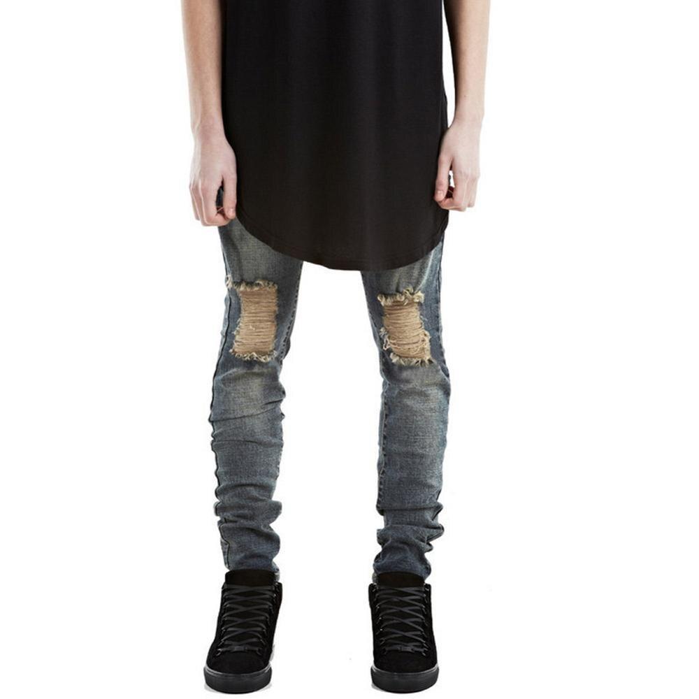 High Quality Mens Ripped Biker Jeans Cotton Black Slim Fit Motorcycle Jeans Men Vintage Distressed Denim Jeans Pants