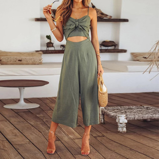 2018 New Cut Out Knot Front Striped Jumpsuit 2018 New Summer Mid Waist Bow Tie Backless Women Clothing Spaghetti Strap Jumpsuit
