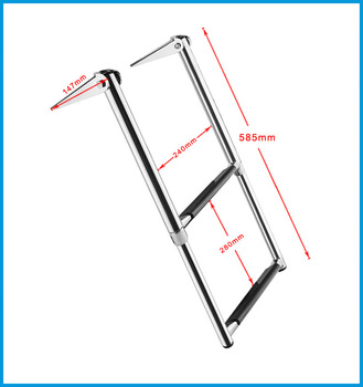 2 Steps Boat Stainless Steel 304 Telescoping Folding Ladder Deck Outboard Swim Platform Boat Marine Yacht Accessories