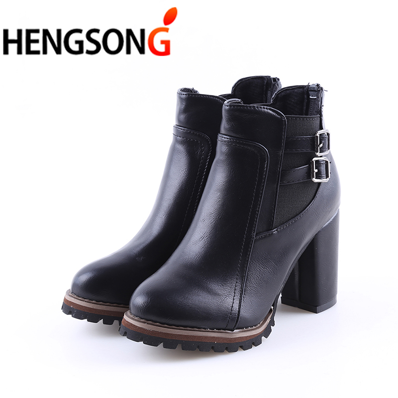Fashion Women Martin Boots 2018 Spring Women Ankle Boot Zipper High Hoof Heel Buckle Punk Motorcycle Boots Shoes Woman Black cuddlyiipanda 2017 punk boots women black ankle boots motorcycle thin high heel double buckle punk platforms botas mujer
