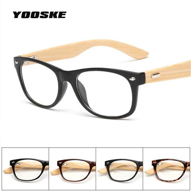 YOOSKE Vintage Madeira Óculos Transparentes óculos de Miopia Prescrição  Óptica Óculos Homens Mulheres Óculos De Armação c2cf8b3d8e