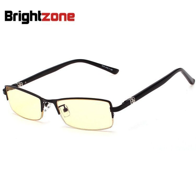High Quality Rim Slim Datorglasögon Män Brand Designer Gul Lins Anti Blue Ray Radiation Rimless Gaming Eyeglasses Eyewear