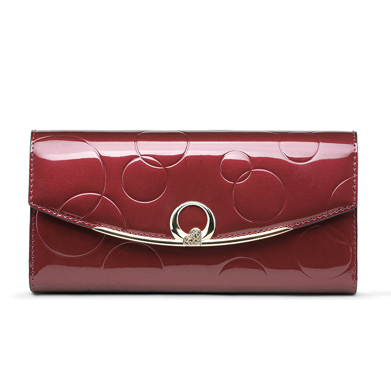 fca0abeb4f5e Fashion Diamond Genuine Leather Wallet Women Luxury Designer Patent leather  Wallets Female Clutch Ladies 3 Fold