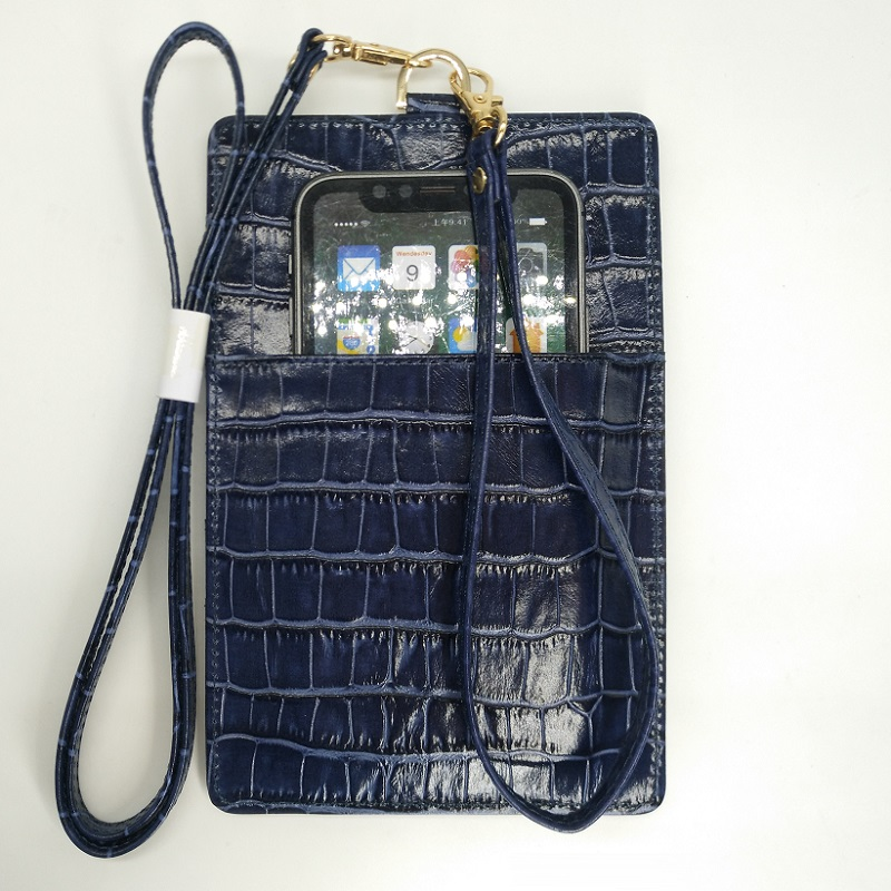 pretty nice 16ae9 4a29a US $26.31 6% OFF|Genuine Leather Card Holder Strap Phone Pouch Bag Case For  iPhone X XS Max XR 6 6S 7 8 Plus Luxury Crocodile Thin Cover Blue-in Phone  ...