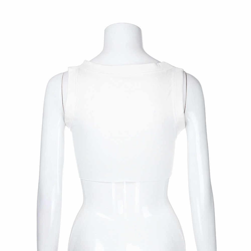 """Moda lato kobiety """" miód bunny' list drukuj O-Neck seksowna kamizelka Crop Tops koszulka żeńska na co dzień bez rękawów koszulka damska koszulka Blus"""