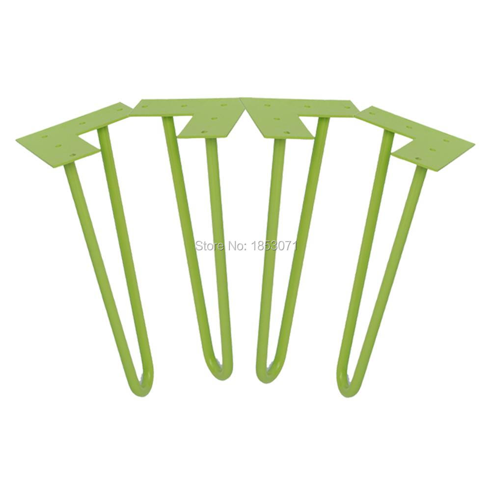 "12"" hairpin legs green 1/2"" steel rod set of 4 Coffee"