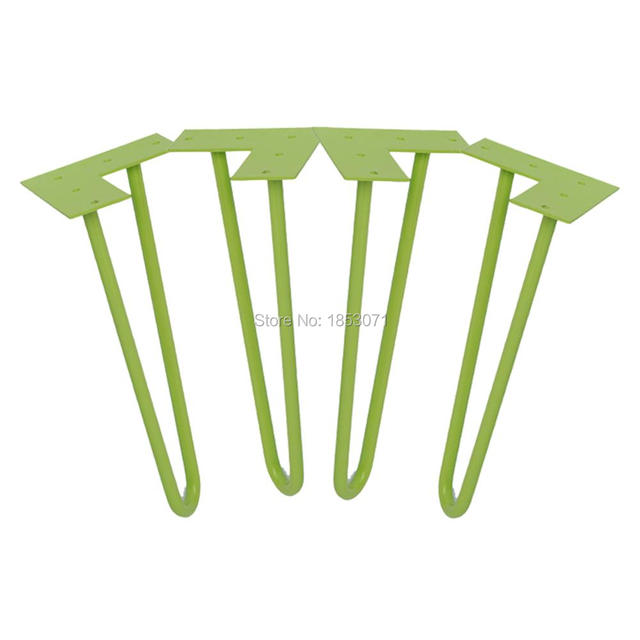 "12"" hairpin legs - green - 1/2"" steel rod - set of 4 - Coffee Table Legs, metal table legs, legs for sofas"