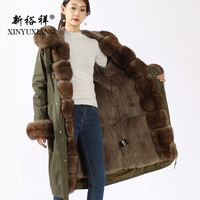 XINYUXIANG Real fox fur Parkas winter women Natural fox fur collar rex rabbit fur lining coat Long thick Army Green fur Jacket