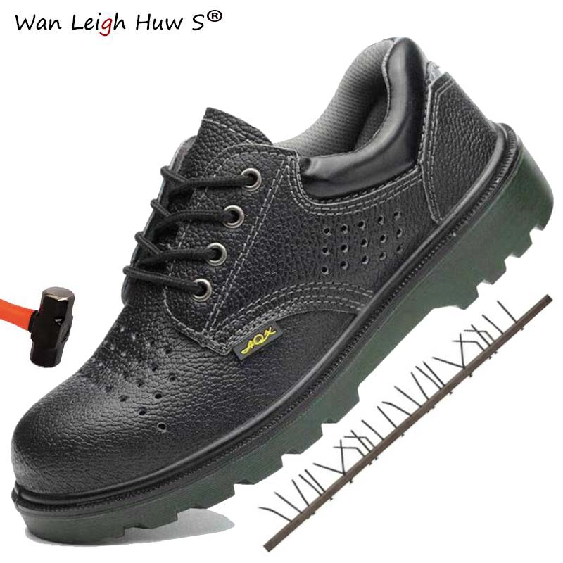Safety Steel Toe Shoes Men Leather Waterproof Work Boot Labor Insurance Puncture Proof Sneakers Mens Boots Plus Size Safety shoe image