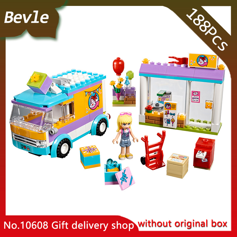 Bevle Store LEPIN 10608 188cs Friends Series Heart Lake City Gift Delivery Shop Building Blocks Brick Children For Toys 41309 lepin 02012 city deepwater exploration vessel 60095 building blocks policeman toys children compatible with lego gift kid sets