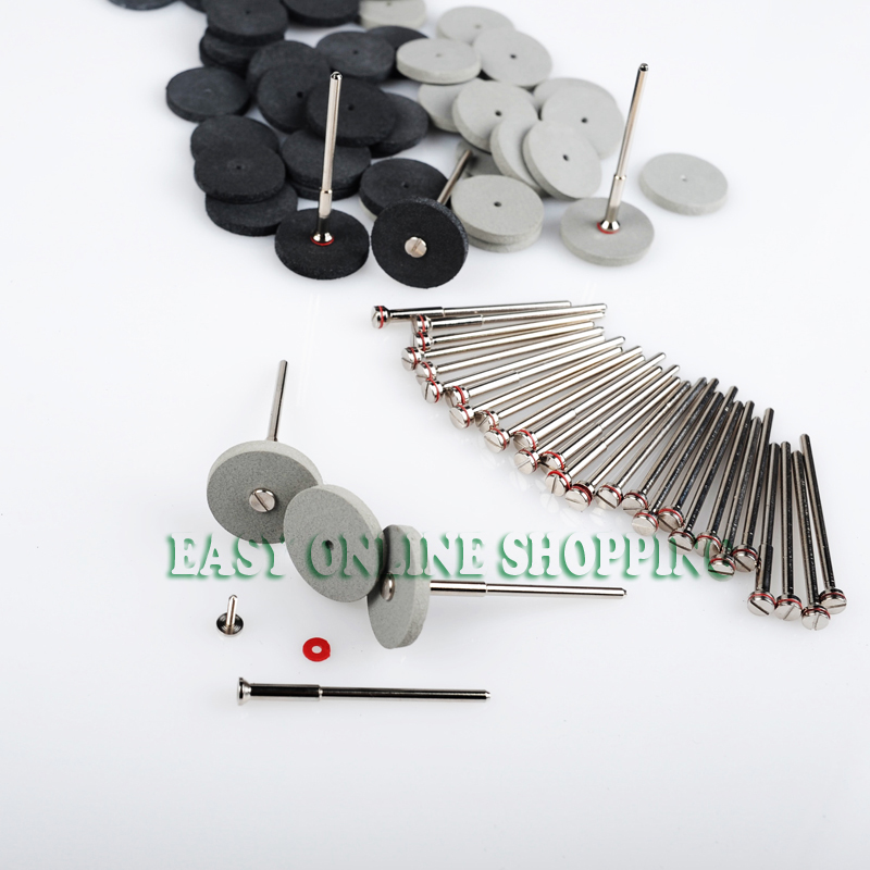 100Pcs Dental Lab Polishing White&Black Wheels + 20Pcs Mandrel Shank Rotary Tool Wheels New  2 pcs black white 100