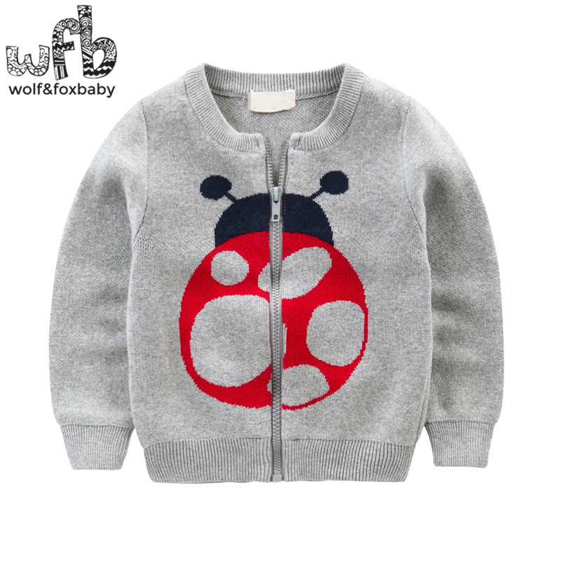 Retail 2-8years knitted sweaters Cardigan Beetle Elephant solid color baby kids children Clothes spring autumn fall