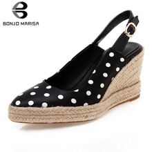 BONJOMARISA New Sweet Polka Dot Satin Pumps Woman Summer Platform Shoes Plus Size 32-44