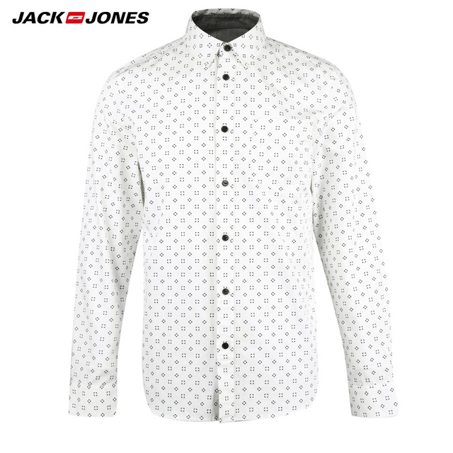 JACKJONES Brand  Men HOT Casual shirts Male slim shirts regular cotton 100%  Male tops| 216105034 4