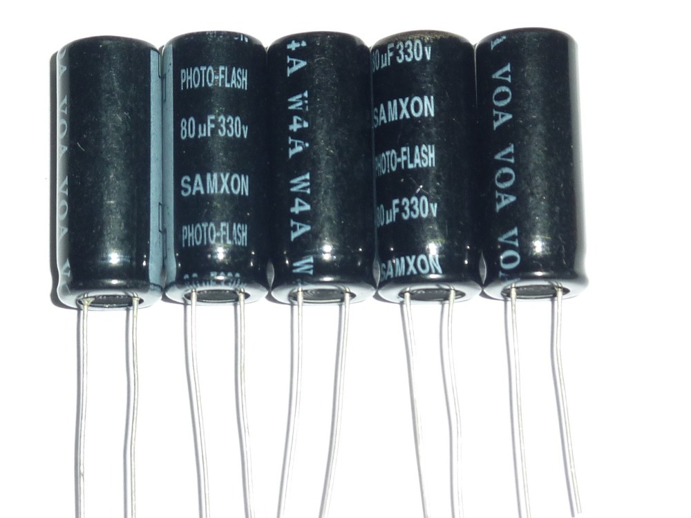10pcs 80uF 330V SAMXON Photo Flash Capacitor 11x28mm 330V80uF PH Capacitors