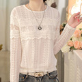 Blusas Women Fashion Long Sleeve Lace White Blouse Spring Autumn Women Clothes Vintage Crochet Sexy Tops Plus Size Shirt A983