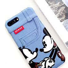 JiBan Luxury Denim Jeans Canvas Cute Cartoon Mickey Minnie Case With Card Slot PhoneCase For iPhone 6 6S 7 Plus cases(China)
