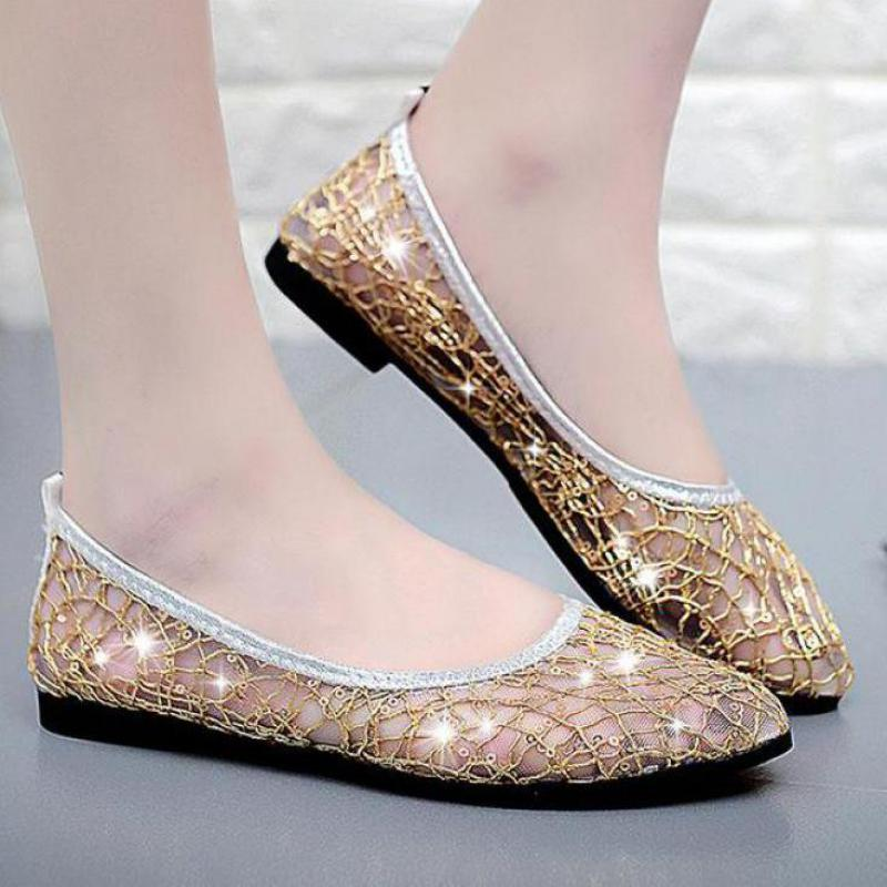 Breathable Mesh Shoes Women Luxury Flat Summer Comfortable Slip On Flats Sequin Loafers Casual Shoes Silver Black Pink Golden eiswelt women flats shoes comfortable flat air mesh spring summer shoes female casual fashion slip on shoes for women flats