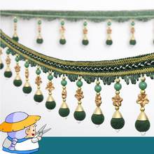 2016 New Arrival Luxury Curtain Lace ribbon High Quality Curtain Tassel Fringe Sewing Curtian beaded trim for curtains Free Ship(China)