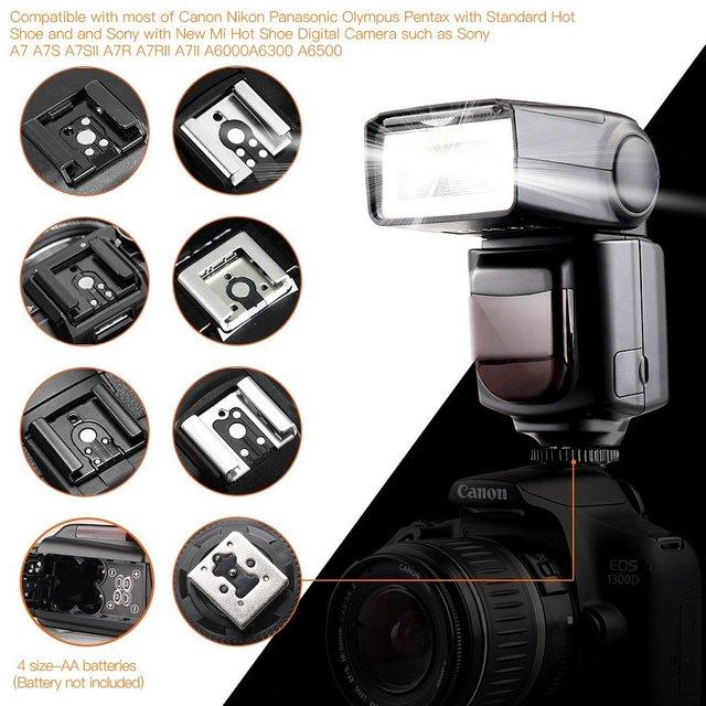 FOSITAN Universal Camera Speedlight Flash for Canon Nikon Panasonic Olympus Pentax and Sony Mi Hot Shoe like Sony A6000 A7 A7S