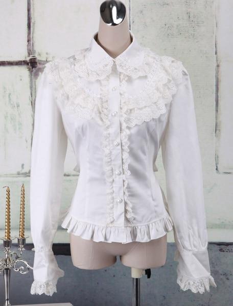 Chemisier Lolita en coton blanc manches longues dentelle garniture col rabattu volants