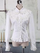 White Cotton Lolita Blouse Long Sleeves Lace Trim Turn-down Collar Ruffles blouse 0800500 49