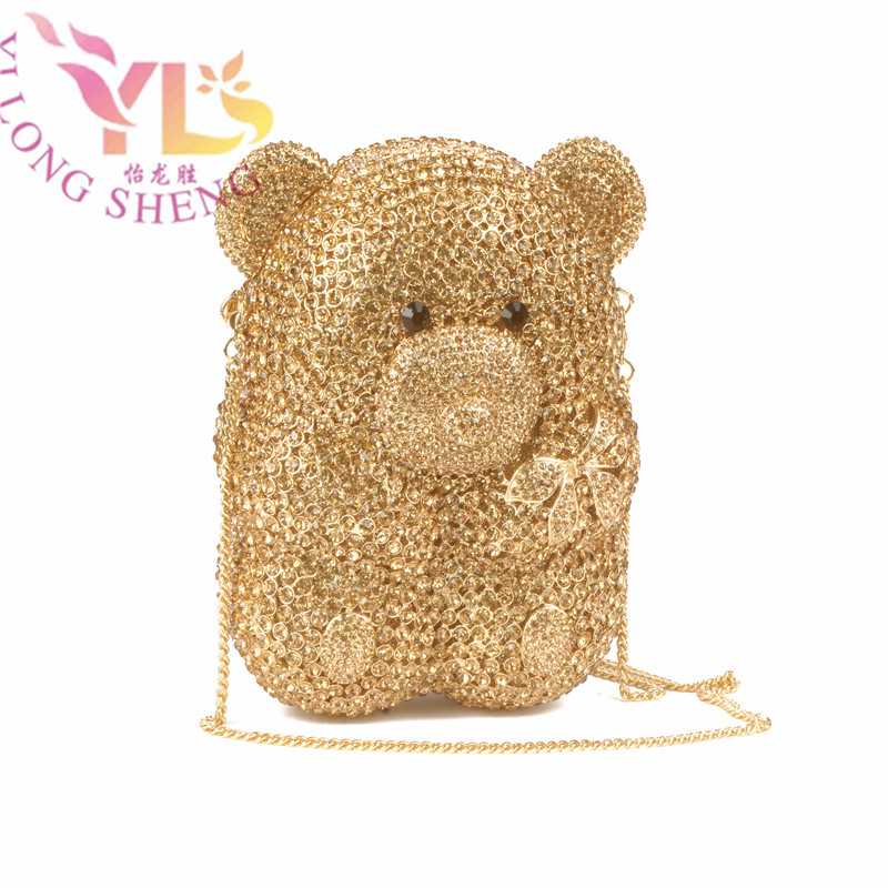 Gold Evening Hand Clutch Women's Stylish Panda Bear Design Crystal Event Party Dinner Clutch Purse Evening YLS A06