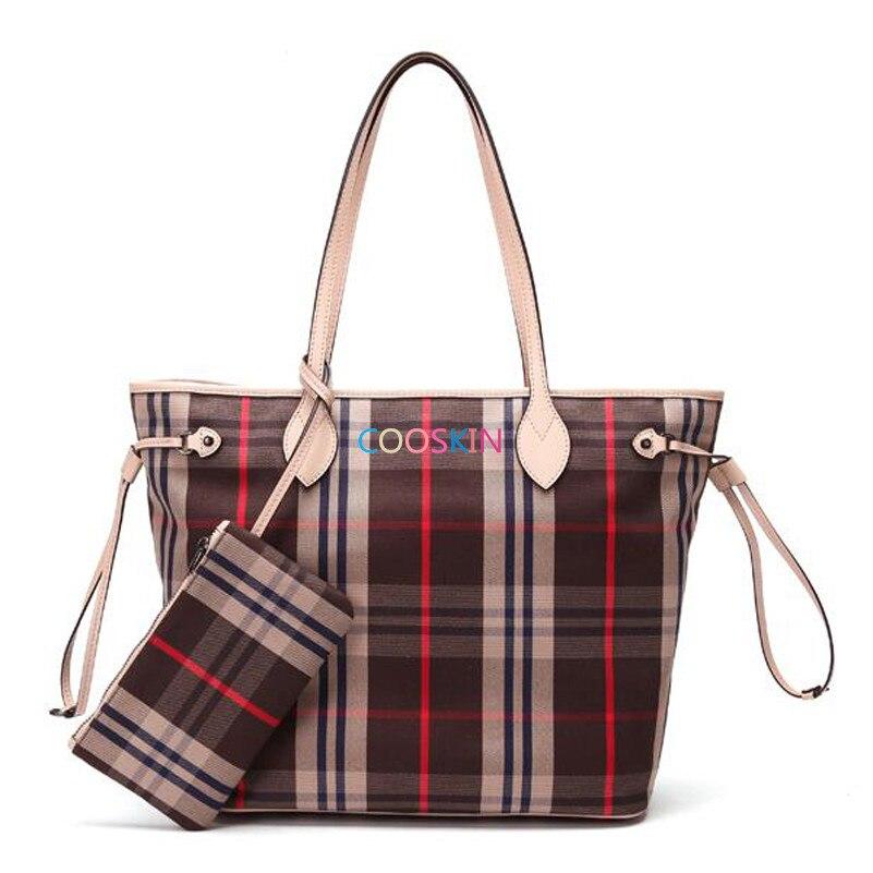 Femmes Neverful sac à main shopping sac toile Damier simple Coréen treillis Neverfull sacs avec fermeture à glissière portefeuille livraison gratuite