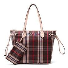 Для женщин Neverful Сумка Хозяйственная Сумка Damier Холст Простой корейской решетки Neverfull сумки с кошелек на молнии Бесплатная доставка