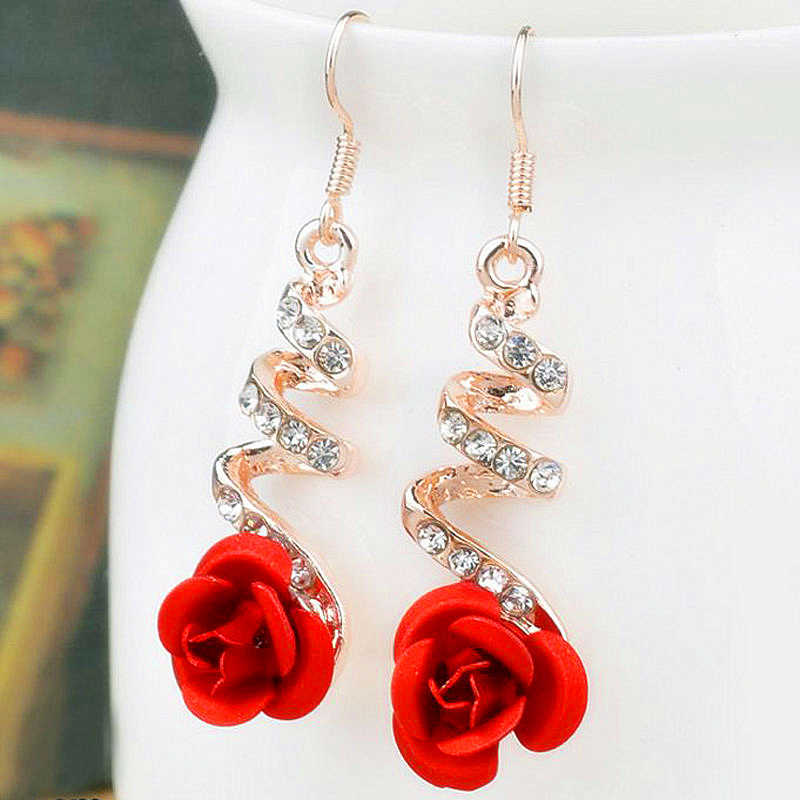 E0373 Vintage Red Rose Drop Earrings For Women Rose Gold Color Statement Dangle Earrings With Crystal Rhinestone Wedding Jewelry