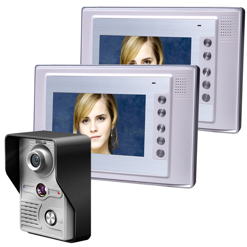 Video Door Phone Doorbell Intercom Wall Mounted Camera +2pc 7 Inch Monitor Night Vision Hands Free Monitor Electric Lock Control 7 inch color tft video door phone doorbell intercom kit 2 camera 1 monitor night vision electric lock control mfbs