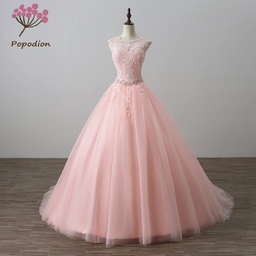 Popodion rhinestone wedding dress plus size bride dress lace wedding ...