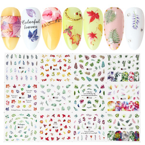 Image 4 - 36pcs Nail Sliders Nail Stickers Set Lettering Leaf Flamingos Designs Manicure Nail Art Water Decals Tattoo Decor TRA1513 1560