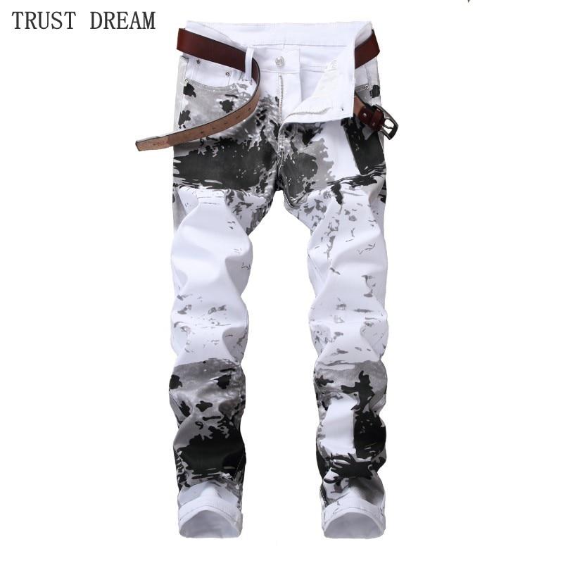 2018 Europeans Style Men Floral Slim White Jeans Graffiti Black Personal Man Casual Paint Leisure Club Street Fashion Jean