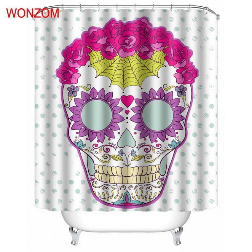 WONZOM Skull Shower Curtain Modern Waterproof Curtains For Bathroom Decoration Cortina De Bano 2018 Curtains Halloween Gift