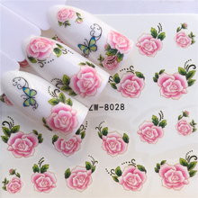 цены WUF 1 Sheet New Designs Flower Glitter Nail Sticker Water Transfer Animal Styles/Christmas Series Nail Art Decals