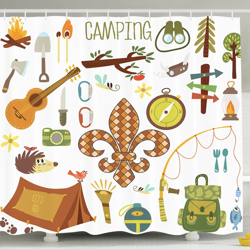 Shower Curtain Camping Equipments Boy Scout Campfire Symbol Fishing Lure Fancy Decorations Lake House Decor Digital Print Fabric