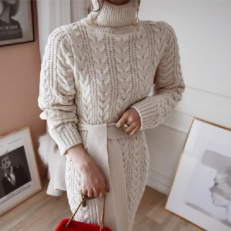 19 Winter Temperament Bursting Elegant Lace Waist Twist High Collar Knit Bottoming Sweater Dress dropshipping 7