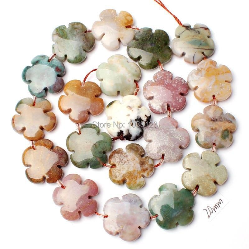 Alta Calidad 20mm Natural 12 Material Piedra Moneda Flores Forma - Bisutería - foto 3