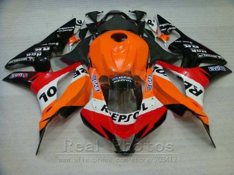 Hot sale fairings for Honda injection mold fairing kit CBR600RR 2007 2008 orange black fairings set 07 08 CBR 600RR TP12