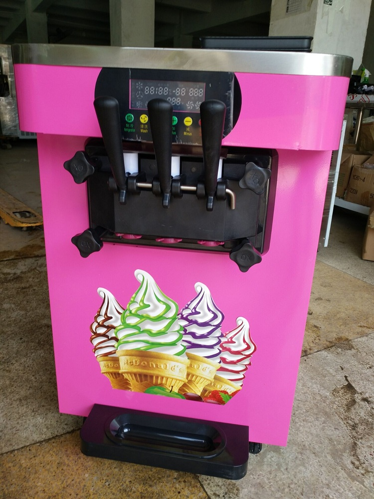 Pink color intelligent automatic Soft ice cream machine commercial ice cream maker with airpump precool R401A refrigerantPink color intelligent automatic Soft ice cream machine commercial ice cream maker with airpump precool R401A refrigerant