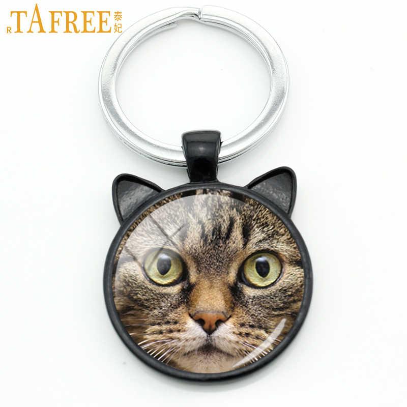 TAFREE Cat брелок с ушками милый модный стеклянный брелок для ключей автомобиля держатель для ключей стимпанк Рождественский подарок для мужчин и женщин ювелирные изделия CN16