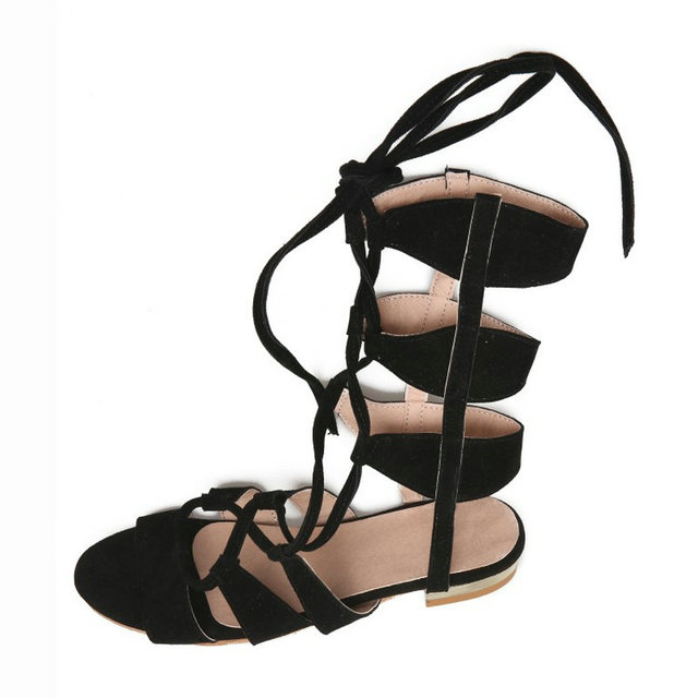 9a76b5d2f2ba9f Summer Faux Suede Ankle Strappy Gladiator Women Flat Sandals Fashion Casual  Woman Beach Shoes 2017 Newest