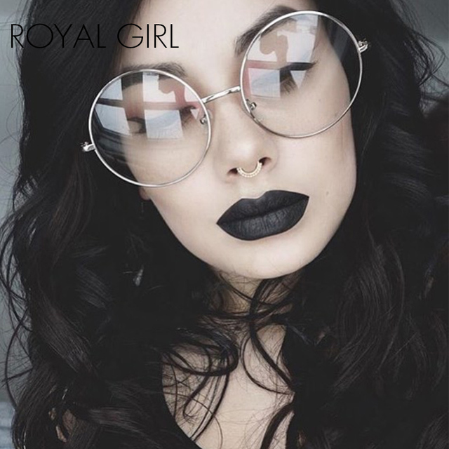 34ceea40d2a ROYAL GIRL 2018 Women Eyeglasses Frames Vintage Retro Oversize metal rim  clear lens Round classic spectacles