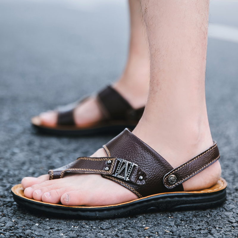2018 New Summer Genuine Leather Mens Sandals Outdoor Black Brown Fashion Beach Flip Flops Rubber Soft Shoes For Men Slippers