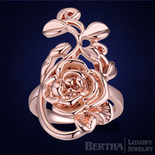 Women Rose Rings Crystal From Austria Gold Color Wedding Ring Anillos Mujer Christmas Gift