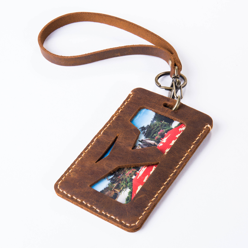 Paperboat Logo Name Custom Genuine Natural Leather Card Holder Bus Name ID Cards Case Couple Pouches Bag Hanging Keychain Badge